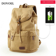 DOVOEL Brand USB Charge Backpack High Quality Canvas Multi-function Men Travel School Security Teenage Charging Line Bag BV119X(China)