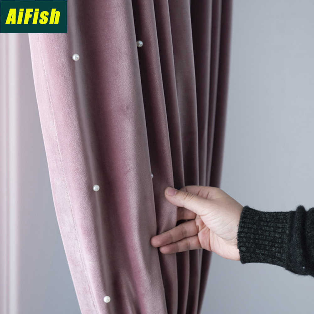 Modern Luxury Velvet Beaded Blackout Curtains for Bedroom Ready Made Thermal Insulated Light Blocking Drapes for Bedroom TM0133
