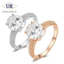 Top Quality Four Claw Oval Cubic Zirconia Rings Rose Gold Color Austrian Crystals Wedding Jewelry Ring For Women R427 R428(China)