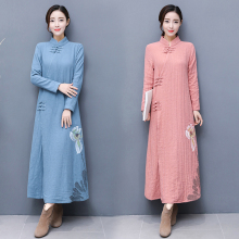 outfit Cotton and linen tea huai female lay people under collar button long dress winter jacket women(China)
