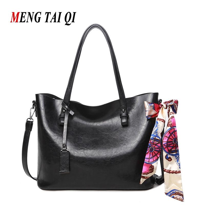 Hot ! Women Leather Handbags Black Women Bag Messenger Bags Brands Vintage Big Shoulder Bag Woman Ladies Hand Bags With Scarf 4<br><br>Aliexpress