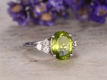 MYRAY 2.25ct Natural Oval Genuine Green Peridot Gemstone Engagement Ring Vintage Antique Women Mens Rings 14k White Gold Band