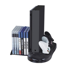 Multi-function Rack Charger Stand For XBOX ONE X Video Game Console with Cooling Fan and 3 USB Port Charger Game Disk Storage(China)