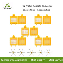 Aihome Hepa Filters + 6-Armed Side Brushes Accessory Kits for iRobot Roomba 700 Series 760 770 780 790 Vacuum Robot Parts