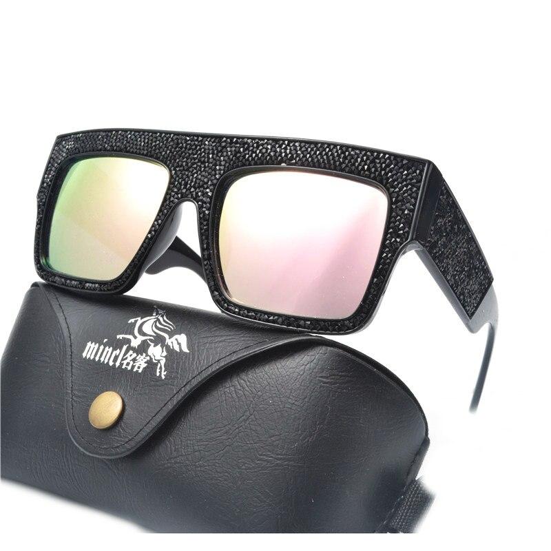 de3d9fe20b Fashion Oversized Diamond Sunglasses Women Square Rhinestone Crystal ...