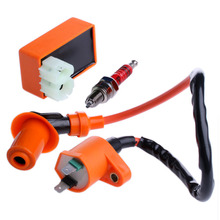 1Set  New Racing Performance CDI+ Ignition Coil + Spark Plug Fit Gy6 150cc 125cc 50cc