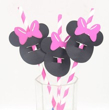 Hot Pink Paper Straws with Minnie Mouse Confetti  Birthday Party Decor Cake Topper