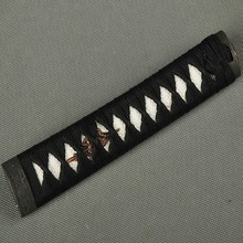 Classic and Useful Sword Handle Tsuka for Japanese  Wakizashi Black Silk Ito & Imitated White Rayskin & Alloy Fuchi Kashira ZJ5