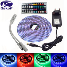 GBKOF SMD RGB LED Strip Light 5050 10M 5M 30Leds/m led Tape Waterproof diode ribbon 44Keys Controller DC 12V power adapter set