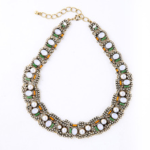 Luxury Designer Jewelry From Shi Jie Euro-America Fashion Trending Diamante Gem Pearl Chokers Necklace Accessories