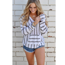 2017 Fashion Women autumn V-neck Hooded sweater Long Sleeve Front Pocket Striped Ladies Casual Loose Knitted Sweater