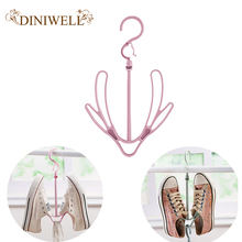 DINIWELL Creative Balcony Windproof Shoes Drying Rack Multi-functional Rotary Hanging Shoes Rack Double Hook Drying Rack(China)