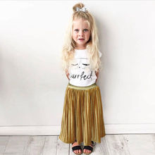 2017 Hot Selling Toddler Kids Skirt Baby Girls Solid Color Elastic Little Princess Costume Long Skirts Children Clothes 2-7Y