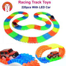 Lovely Too 220pcs/set Racing Track Toys Railway Hot Wheels Led Track Car Train Auto Kids Toy for children(China)
