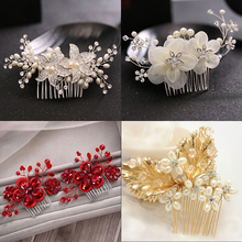 wedding rhinestone bridal hair comb crystal flower pearl combs hair accessories new women hair jewelry