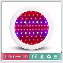 High Power Full Spectrum 216W UFO Led Grow Light for plants Flowering lighting 52Red+12Blue+2warm white+2white+2IR+2UV(China)
