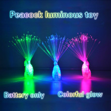 2017 new children's Day peacock finger lamp luminous toy flash Colorful Peacock LED fiber lamp toy for children