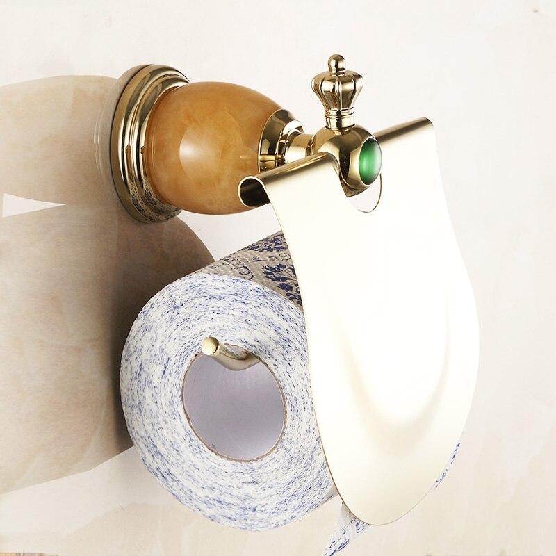 Europe Gold Toilet Paper Holder Luxury Jade Toilet Paper Box/ Roller Holder Brass Polished Toilet Tissue Holder 3808K<br>