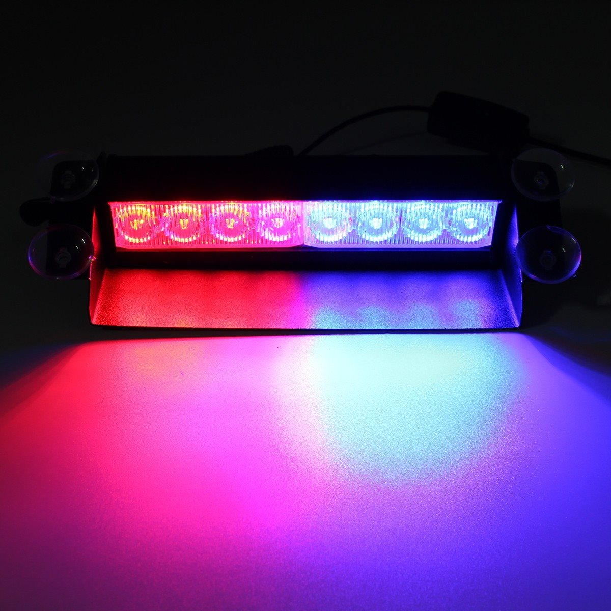 New Car Styling 8 LED for Police Car Flash Flashing Light Emergency 3 Fog Lights Lamp Red/Blue<br><br>Aliexpress