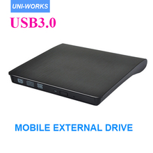 USB3.0 Portable External Slim DVD-RW/CD-RW Burner Recorder Optical Drive CD DVD ROM Combo Writer support windows10 tablet(China)