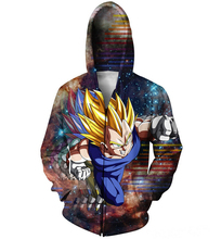 Vegeta Zip-Up Hoodie Japanese anime series Dragon Ball Z character Zipper Sweatshirts Women Men casual Tops Jumper Outfits