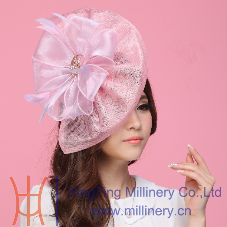 Free Shipping Fashion Women Fascinator Hats Pink Organza Flower Hair Accessory Wedding Hair Accessories Hairdress Sinamay Fabric<br>