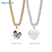 Personalized Engraved Name Photo Stainless Steel Heart Pendant Necklace DIY Gold Color Strand Chain Engraving Blank Necklace(China)