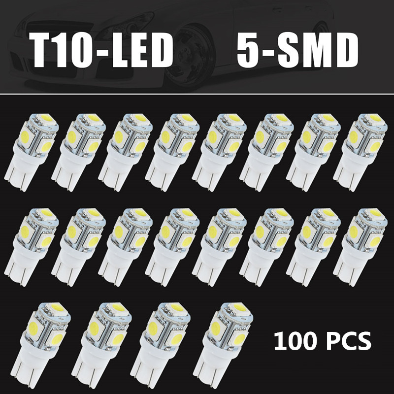 HO sale! New High Quality 100PCS White 12V DCT10 Wedge 5-SMD 5050 LED  Light bulbs  Up to 50000+ hours W5W 2825 158 192 168 194<br><br>Aliexpress