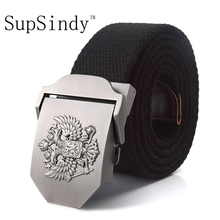 Buy SupSindy canvas belt Russian National Emblem Alloy buckle military men belt Army tactical belts Men Best male strap for $5.15 in AliExpress store
