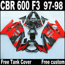 Custom free Motorcycle parts for HONDA CBR 600 F3 fairings 1997 1998 CBR600 F3 97 98 black red body repair fairing kit  W2