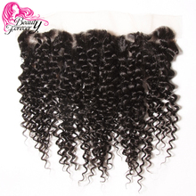 Beauty Forever Brazilian Curly Hair Lace Frontal Closure 13*4 Free Part Ear to Ear Non-Remy Human Hair Closures Natural Color