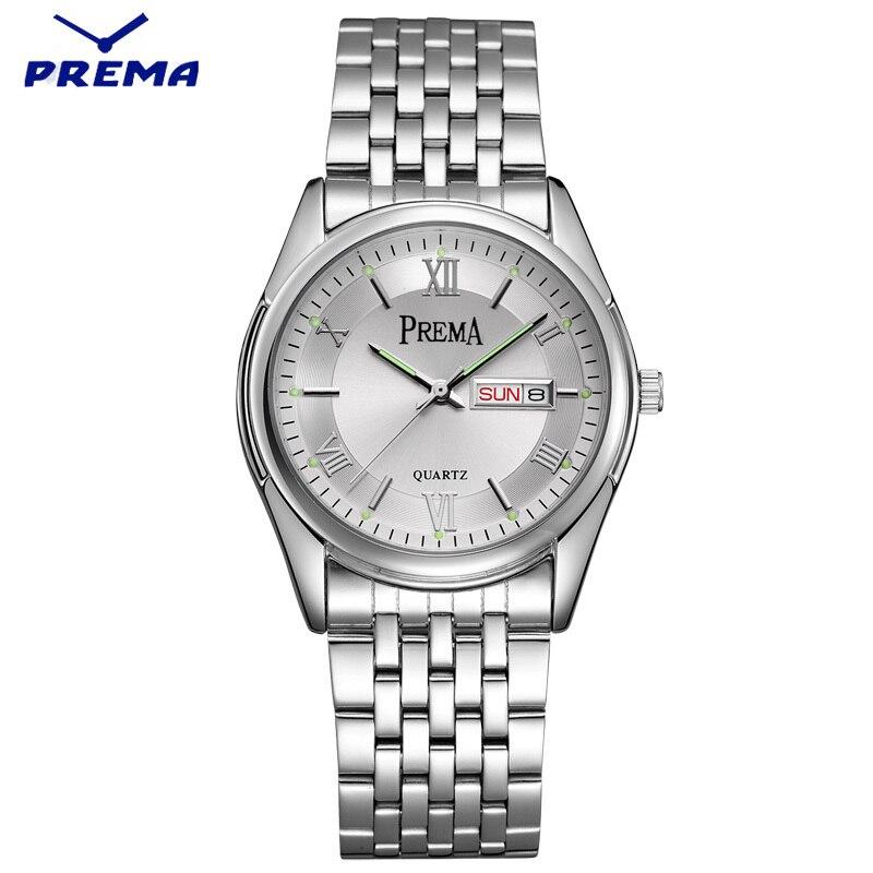Watch Men PREMA Quartz Reloj Hombre Stainless Steel Watch Band Roman Numeral Big Dial Calendar Display Relogio Masculino<br>