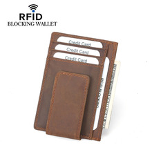 Buy Rfid Blocking Wallet Money Clip Credit Card Case Genuine Leather Magnet Clamp Money Vintage Front Pocket Wallet Cash Clip for $11.08 in AliExpress store