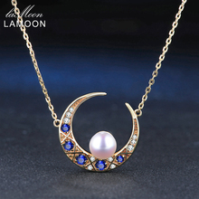 LAMOON 6.5mm 100% Natural Freshwater Pearl Jewelry 925 Sterling Silver Jewelry 14K Yellow Gold Plated Pendant Necklace LMNI006