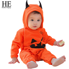 Buy Christmas jumpsuit baby autumn winter warm newborn baby girl Clothes long sleeve pumpkin print overalls Hooded jumpsuit for $10.89 in AliExpress store