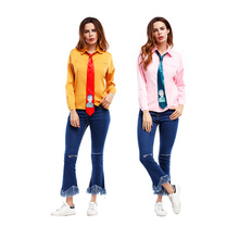 Woman's Fashion 2017 Top Tie Front Blouse Button Full Sleeve Turn-down Collar Embroidered Shirt Female Clothing Suppliers China(China)