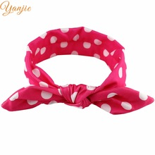 2017 Chic European Dot Elastic Bunny Headbands For Lovely Kids Girl DIY Rabbit Ear Hair Accessories 2017 New Arrival Headwrap(China)