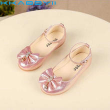 Newest Autumn Girls leather shoes Children girls baby princess bowknot sneakers pearl diamond single shoes Kids dance shoes(China)