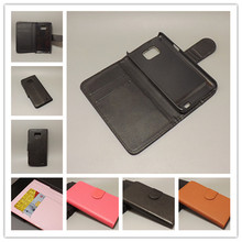 For Samsung Galaxy S2 SII GT I9100 Galaxy S2 Plus i9105 Lichi Leather Case Pouch Flip case with 2 Card Holder and pouch slot