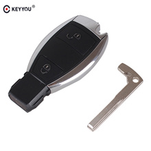 KEYYOU 2 BUTTONS FOR MERCEDES BENZ 2005-08 Waterproof  SMART KEY FOB REMOTE SHELL CHROME CASE Holder Insert Key
