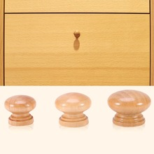 10pcs/Lot 3 Size Natural Wooden Cabinet Drawer Wardrobe Door Knob Pull Handle Hardware Plain Circle Handle Home Accessories