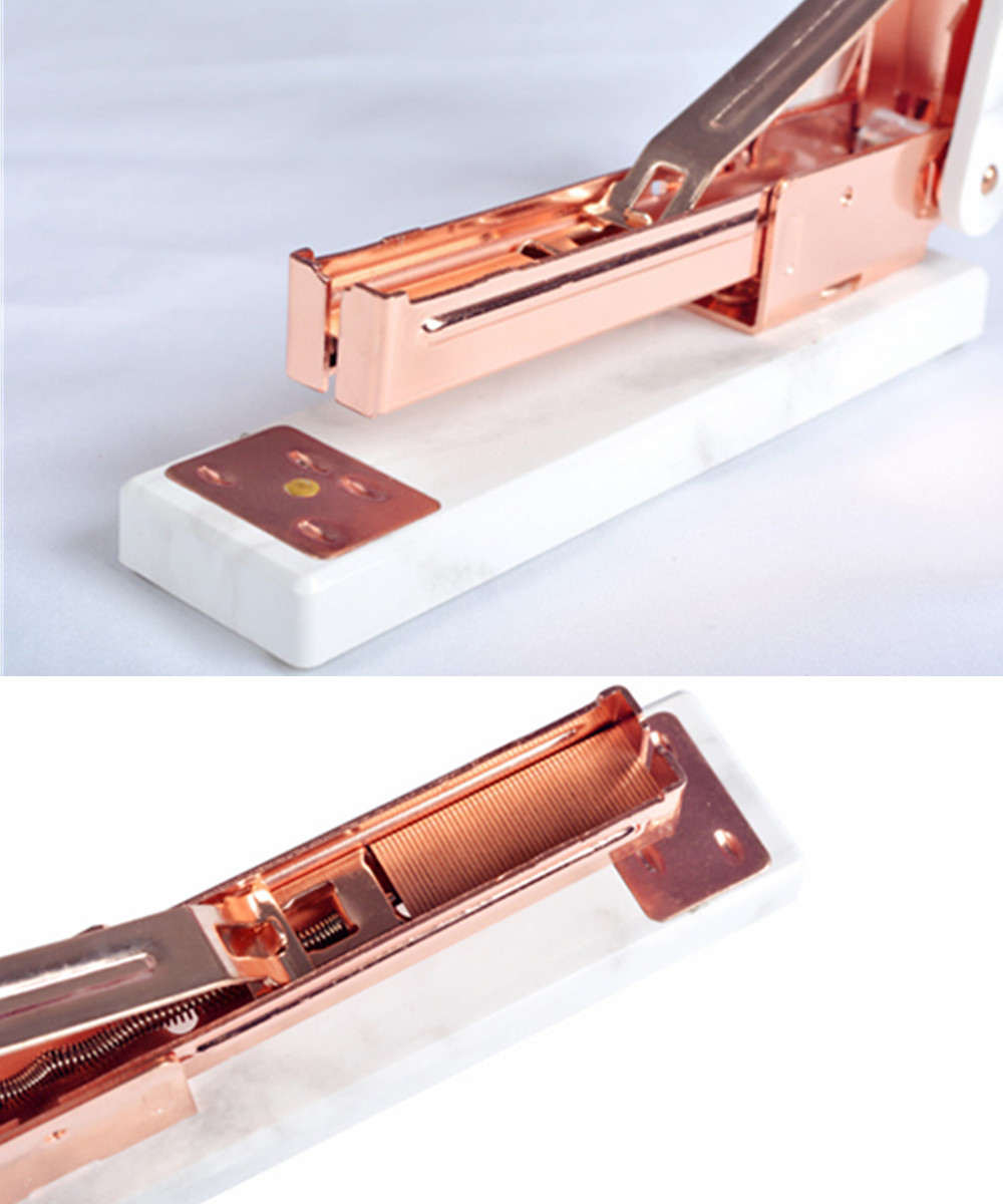 white marble staplers rose gold edition