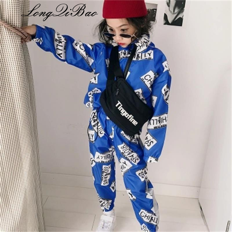 Girls suit 2018 autumn new big children's children's fashionable foreign long-sleeved trousers two-piece Korean version of the t