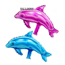 20pcs Cartoon Dolphin Marine Animals Foil Balloons child Birthday Party Wedding Decoration baby shower toys balls gift Wholesale(China)