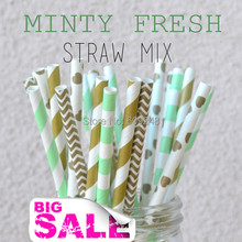 125pcs Mixed Colors Minty Fresh Paper Straws,Mint Striped and Rugby Stripe,Gold Chevron,Stripe and Heart,Wedding Party,Valentine