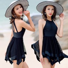 Plus Size Swimwear Lace One Piece Swimsuit 2017 Retro Mesh Swimming Suit For Women Bathing Suit Beach Dress Swimsuit Black Skirt