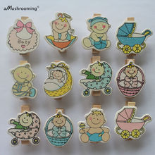 48 Baby Shower Mini Wooden Clothes Peg | Clip | Clothespin | Boy Girl Angel Craft Baby  Boy Girl Baby Shower decorations