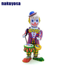 Classic collection Retro Clockwork Wind up Metal Walking Tin Toy Drumming Clown drummer Robot Mechanical kids christmas gift(China)