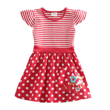 birthday dresses for baby girls Kid dresses children 2-6 years fashion red white striped s kids wear vestidos infantis clothes