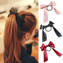 MOONBIFFY 1X Women Tiara Satin Ribbon Bow Hair Band Rope Scrunchie Ponytail Holder Hair Braider Styling Accessories Tools(China)